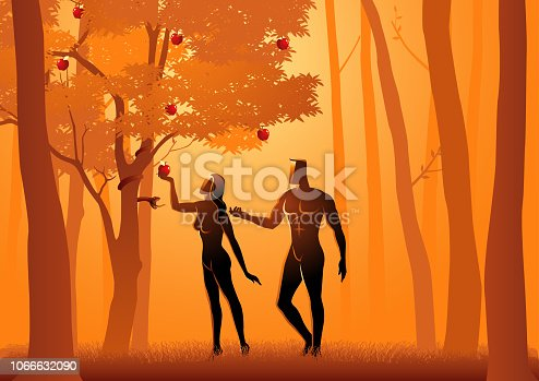 Biblical vector illustration of Adam and Eve, a serpent deceives Eve into eating fruit from the forbidden tree