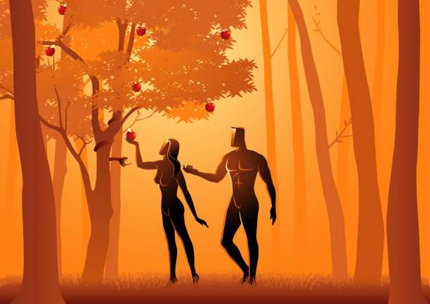 Adam and Eve vector art illustration