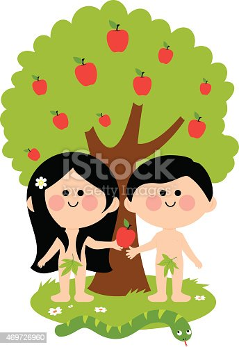 Vector Illustration of Adam, Eve and the snake under an apple tree. Eve giving apple to Adam.