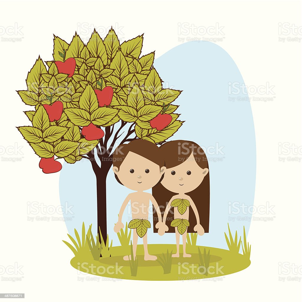 Adam And Eve vector art illustration