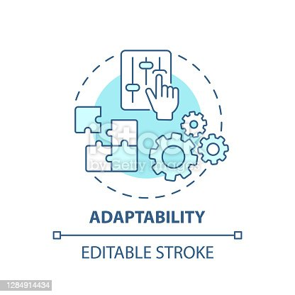Adaptability concept icon. Creative thinking skills. Adjust ability to different options. Respond to changes idea thin line illustration. Vector isolated outline RGB color drawing. Editable stroke