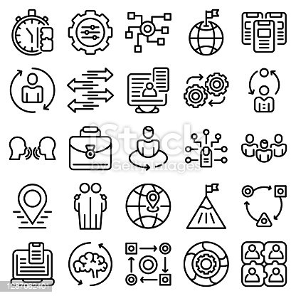 Adaptation icons set. Outline set of adaptation vector icons for web design isolated on white background