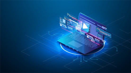 Adaptive design of the landing page for video marketing with isometric illustration of the browser window or online meeting work from home. Video content development, video marketing strategy. Vector