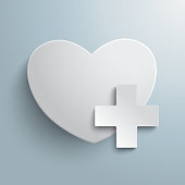 White heart with plus symbol on the grey background. Eps 10 vector file.