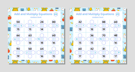 Add And Multiply Equations Math Puzzle Set Mathematics