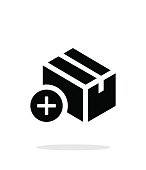 Add box simple icon on white background.
