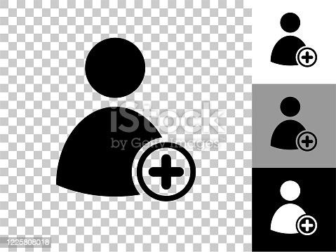 Add Contact Icon on Checkerboard Transparent Background. This 100% royalty free vector illustration is featuring the icon on a checkerboard pattern transparent background. There are 3 additional color variations on the right..