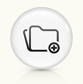 Add Folder icon on white round vector button