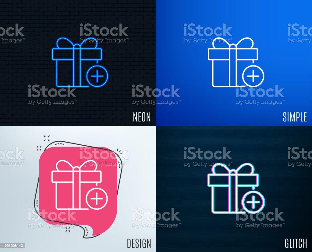 Geschenk Box Liniensymbol hinzufügen. Zeichen zu präsentieren. - Lizenzfrei Ausverkauf Vektorgrafik