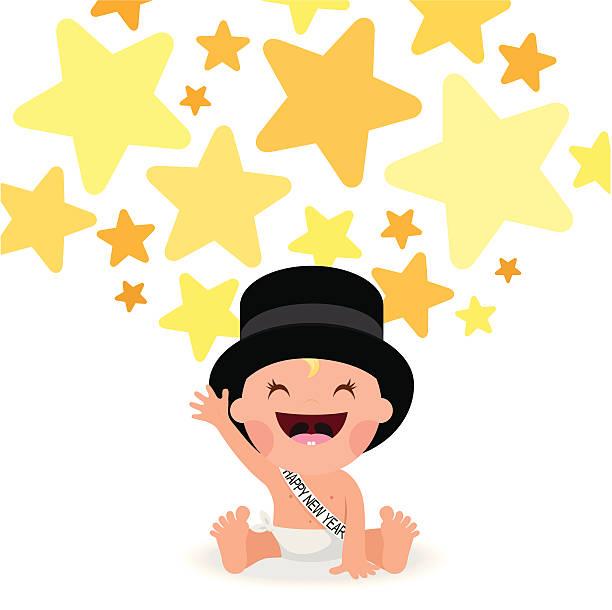 add happynewyear stars tophat baby illustration vector party myillo vector art illustration happy new year