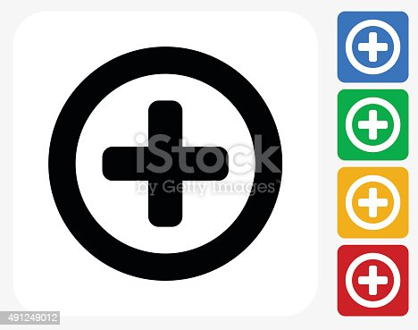 Add Icon. This 100% royalty free vector illustration features the main icon pictured in black inside a white square. The alternative color options in blue, green, yellow and red are on the right of the icon and are arranged in a vertical column.