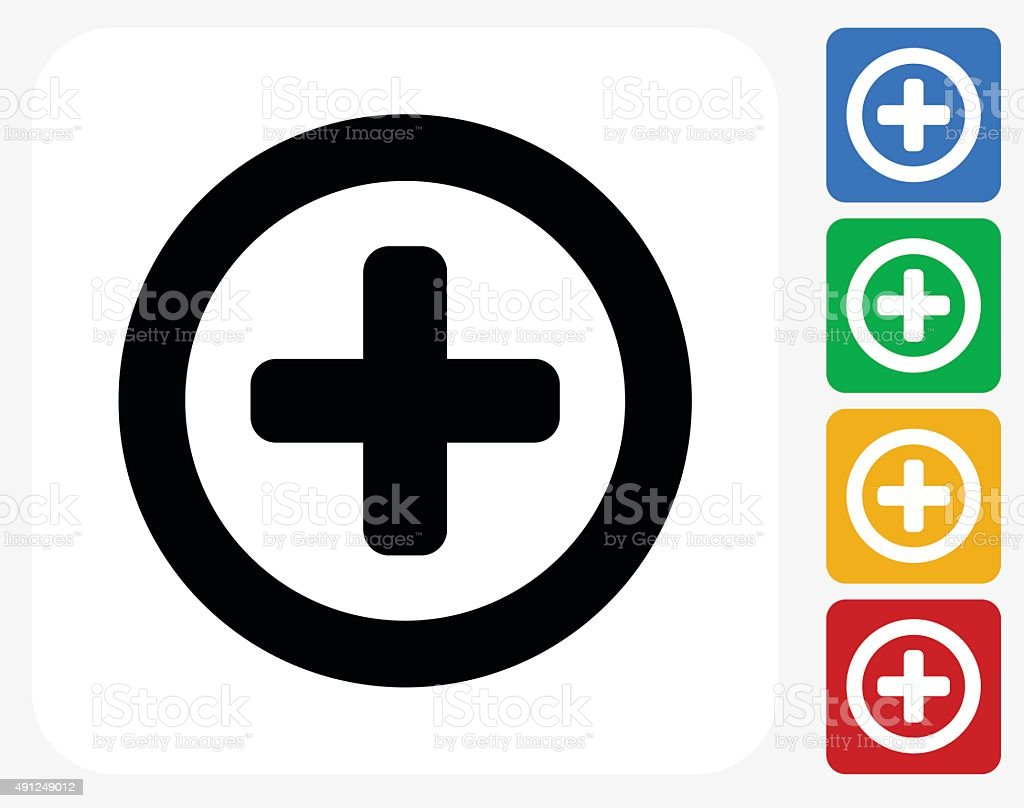 Add Icon Flat Graphic Design vector art illustration
