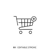 Add Item from Shopping Basket Icon with Editable Stroke and Pixel Perfect.