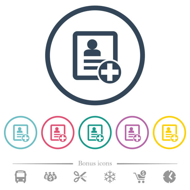 Add new contact flat color icons in round outlines Add new contact flat color icons in round outlines. 6 bonus icons included. enrollment stock illustrations