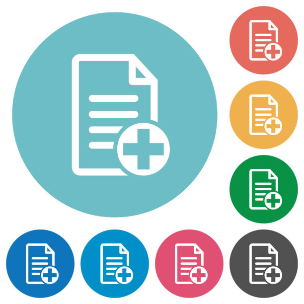 Add new document flat round icons Add new document flat white icons on round color backgrounds enrollment stock illustrations