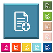 Add new document white icons on edged square buttons in various trendy colors