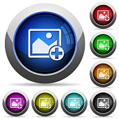 Add new image icons in round glossy buttons with steel frames
