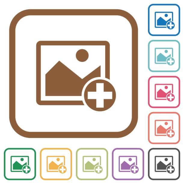 Add new image simple icons Add new image simple icons in color rounded square frames on white background inserting stock illustrations