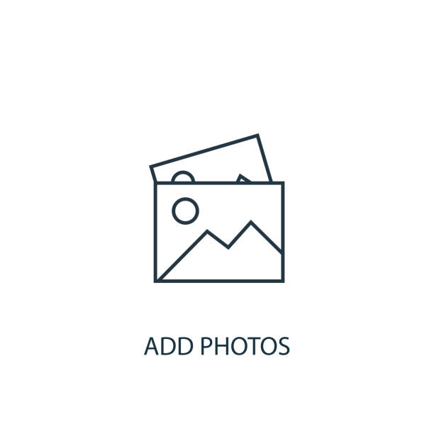 add photos concept line icon. Simple element illustration add photos concept line icon. Simple element illustration. add photos concept outline symbol design from Message set. Can be used for web and mobile UI/UX image stock illustrations
