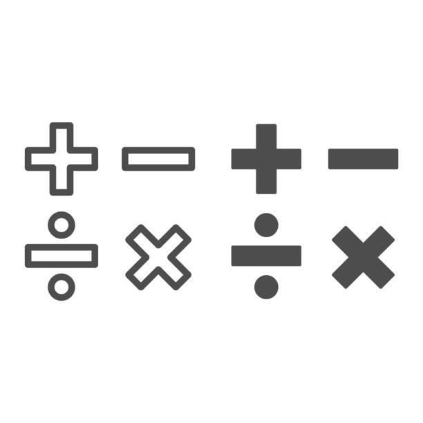 illustrazioni stock, clip art, cartoni animati e icone di tendenza di aggiungere, sottrarre, dividere, moltiplicare la linea dei simboli e solido, il concetto di educazione, la matematica calcola il segno su sfondo bianco, i simboli matematici di base più, meno, la moltiplicazione e la divisione nel contorno. vettore. - segno meno