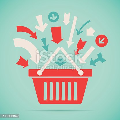 Arrows for adding products to Shopping basket or shopping cart illustration concept. EPS 10 file. Transparency effects used on highlight elements.