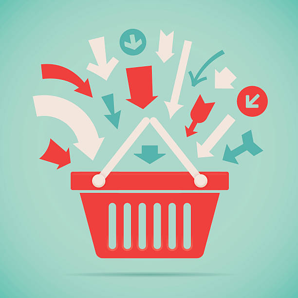 Add to Basket Arrows for adding products to Shopping basket or shopping cart illustration concept. EPS 10 file. Transparency effects used on highlight elements. shopping basket stock illustrations