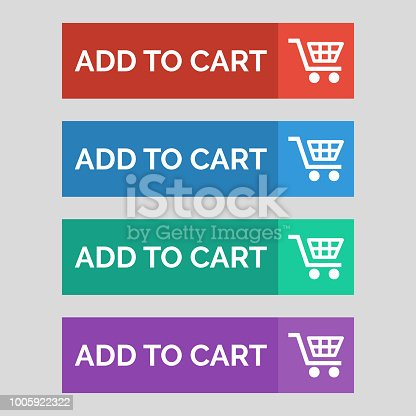 Add to cart flat buttons on grey background. Vector illustration