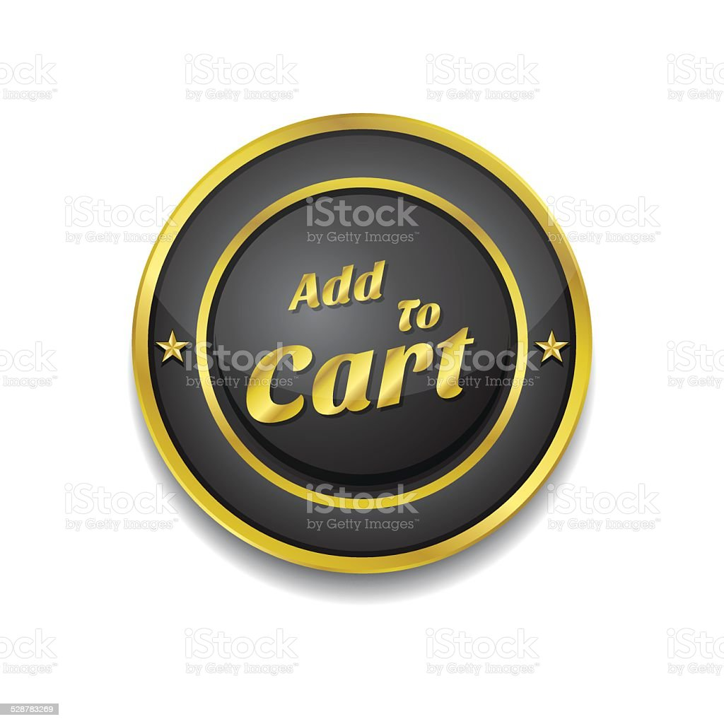 Add To Cart Gold Vector Icon Button