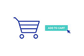 Add to cart icon, Commerce. Modern line vector illustration