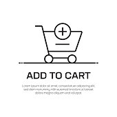 Add To Cart Vector Line Icon - Simple Thin Line Icon, Premium Quality Design Element