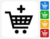 Add to Shopping Cart Icon Flat Graphic Design