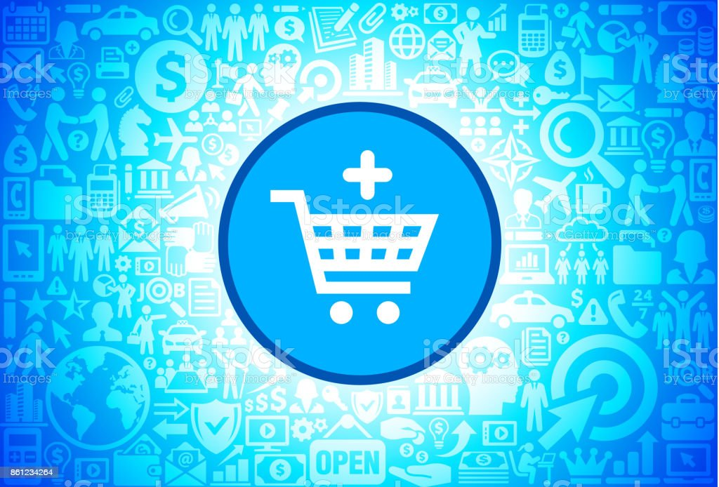 Add to Shopping Cart Icon on Business and Finance Vector Background