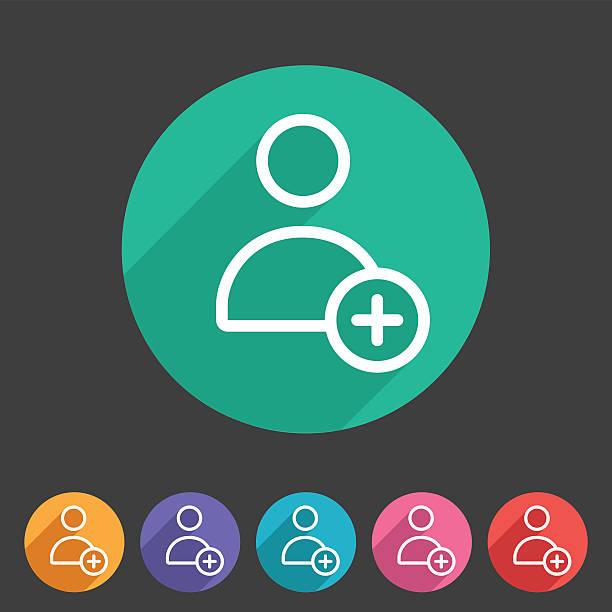 add user avatar icon flat web sign symbol logo label vector art illustration