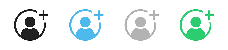 Add user icon set. Vector plus person symbol collection on white background.