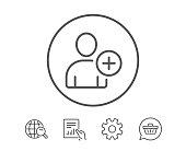 Add User line icon. Profile Avatar sign.
