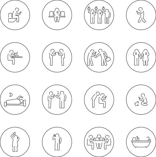 stockillustraties, clipart, cartoons en iconen met addict mobile - cell phone toilet