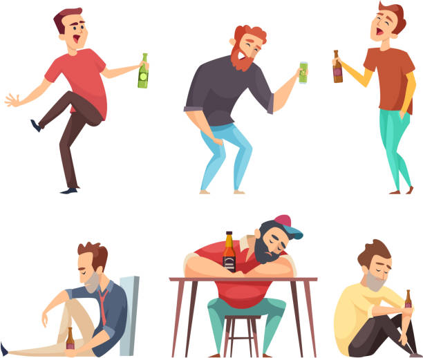 Addiction alcoholic. Addict peoples alcoholism and drugs drinking person beer vodka whiskey abuse vector characters isolated Addiction alcoholic. Addict peoples alcoholism and drugs drinking person beer vodka whiskey abuse vector characters isolated. Alcoholic man addict, person with drink illustration addict stock illustrations