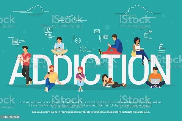 Addiction concept illustration of young people using devices such as vector id610159408?b=1&k=6&m=610159408&s=612x612&h=kelzgc3b1clxnmi dn97i0xtk6kwwpbl cqepok7ty8=