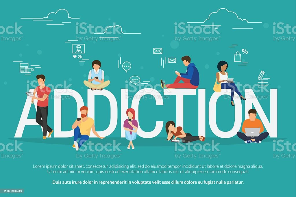 Addiction concept illustration of young people using devices such as vector art illustration