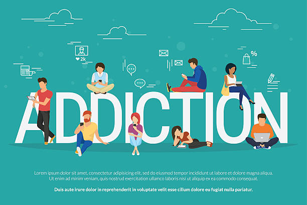 Addiction concept illustration of young people using devices such as Addiction concept illustration of young people using devices such as laptop, smartphone, tablets. Flat design of people addicted to gadgets sitting on the bid letters with social media symbols addict stock illustrations