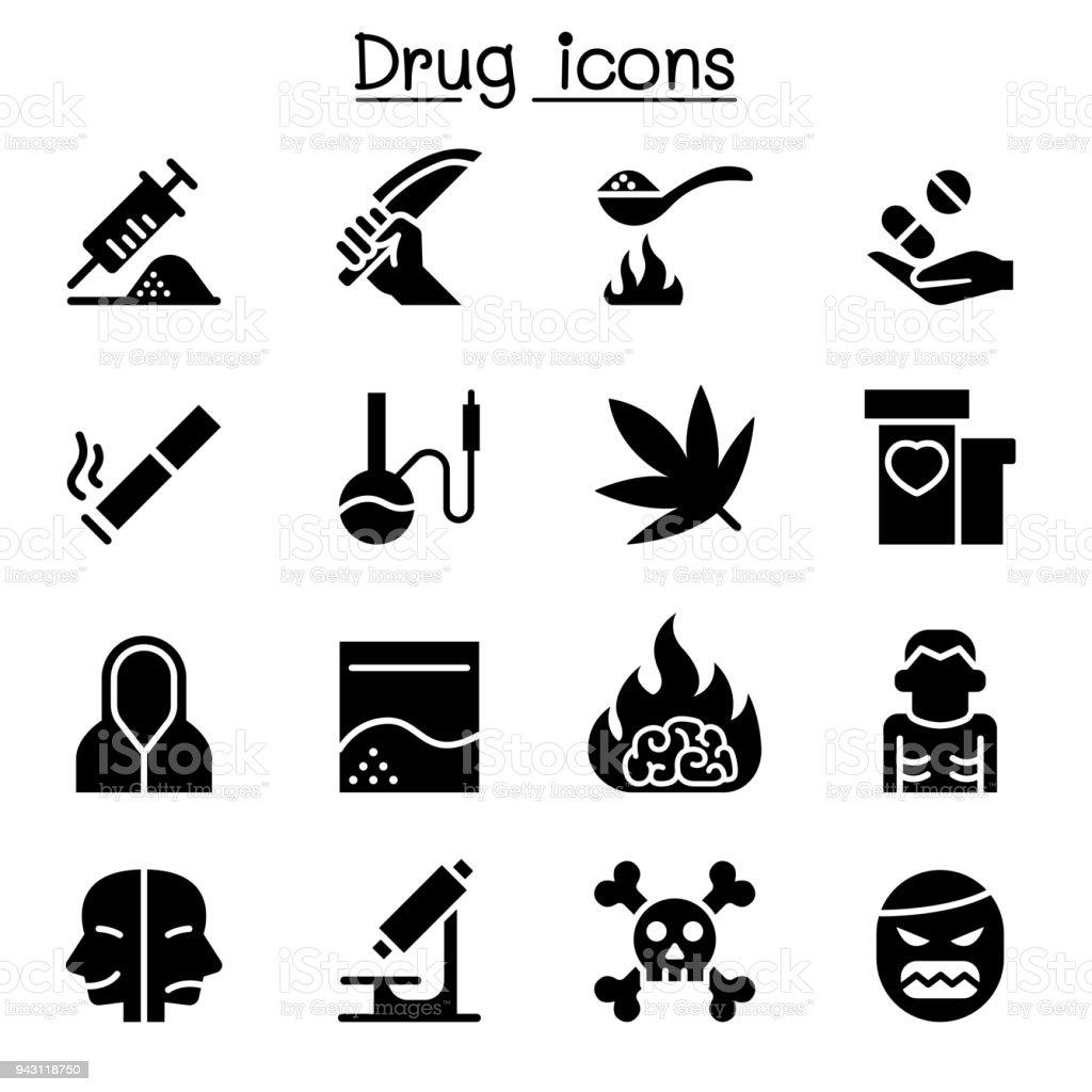 Sucht Droge Symbol Set Vektor Illustration Grafikdesign Stock Vektor ...