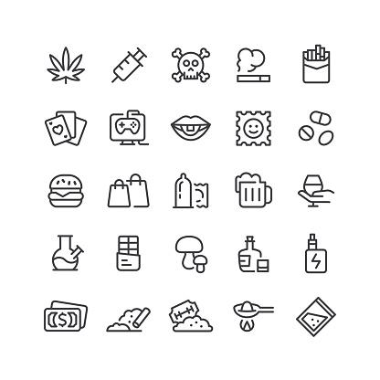 Addiction Line Icons Editable Stroke