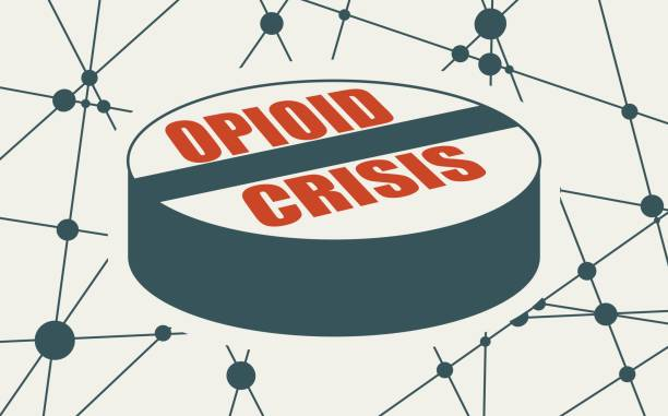 Addiction metaphor illustration Opioid crisis text on pill. Unhealthy addiction metaphor. Molecule and communication background. Connected lines with dots. crisis stock illustrations