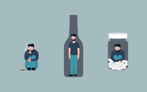 addiction set man vector art illustration