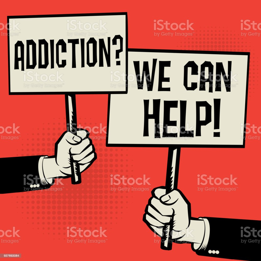 Addiction? We Can Help! vector art illustration