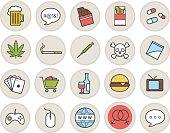 Addictions and bad habits icons