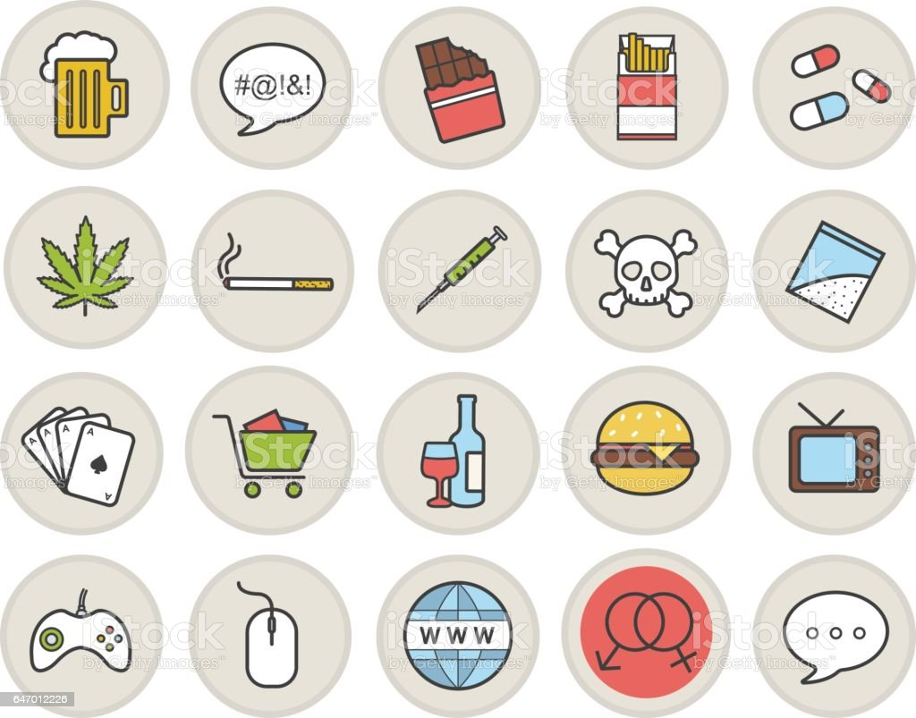 Addictions and bad habits icons vector art illustration