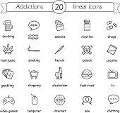 Addictions linear icons set