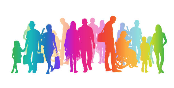 Adding Diversity Rainbow Silhouettes Large and colourful crowd of silhouette people walking focus on shadow stock illustrations