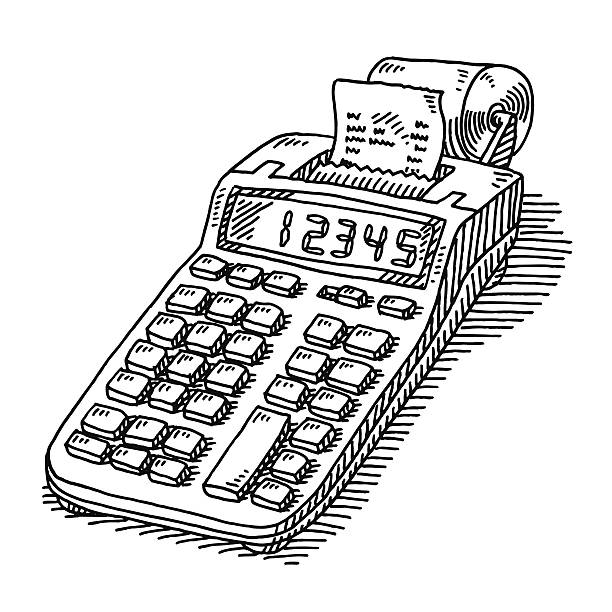 Adding Machine Tape Calculator Drawing Hand-drawn vector drawing of a Adding Machine with Tape, Classic Business Calculator. Black-and-White sketch on a transparent background (.eps-file). Included files are EPS (v10) and Hi-Res JPG. budget silhouettes stock illustrations